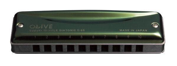 Suzuki C-20C Olive 10 Hole Diatonic Harmonica - Key of C
